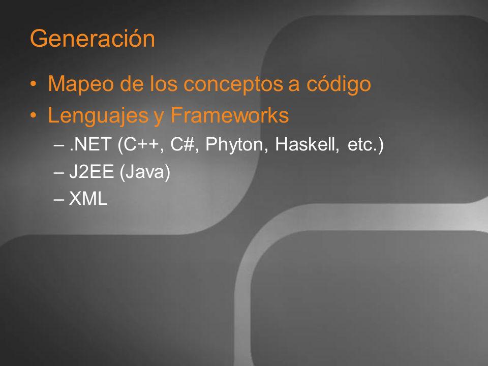 Generación Mapeo de los conceptos a código Lenguajes y Frameworks –.NET (C++, C#, Phyton, Haskell, etc.) –J2EE (Java) –XML