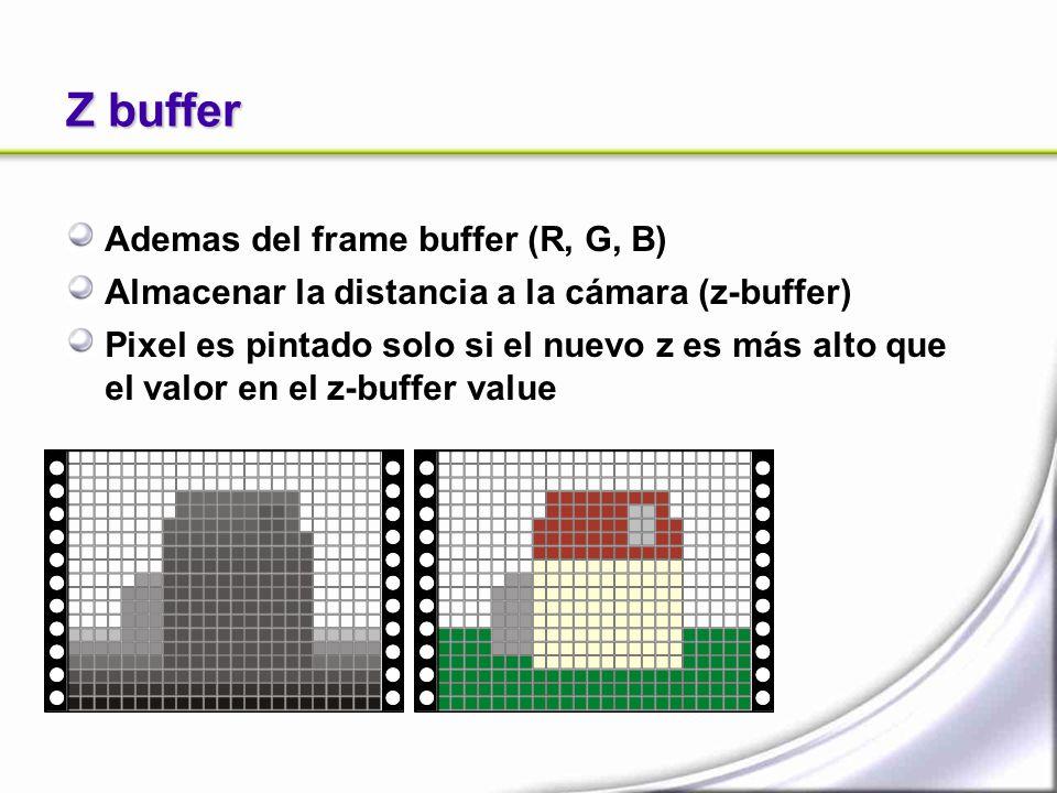 Z buffer Ademas del frame buffer (R, G, B) Almacenar la distancia a la cámara (z-buffer) Pixel es pintado solo si el nuevo z es más alto que el valor en el z-buffer value