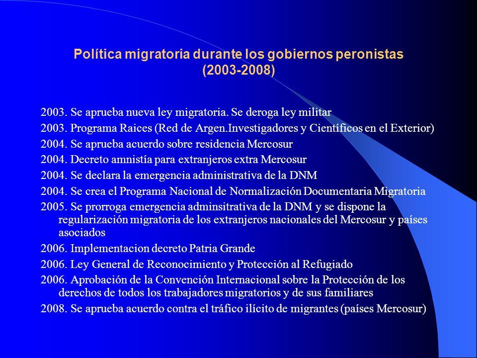 Política migratoria durante los gobiernos peronistas (2003-2008) 2003. Se aprueba nueva ley migratoria. Se deroga ley militar 2003. Programa Raices (R