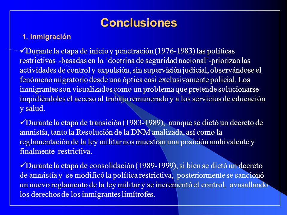 Conclusiones Durante la etapa de inicio y penetración (1976-1983) las políticas restrictivas -basadas en la doctrina de seguridad nacional-priorizan l