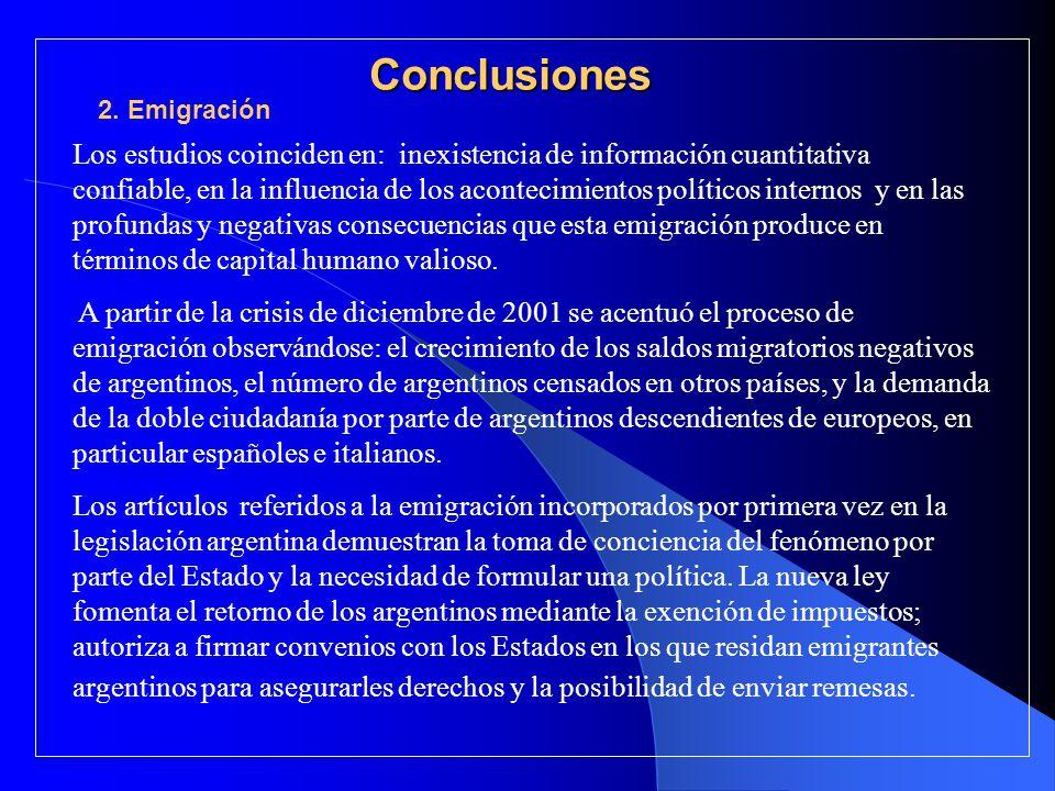 Conclusiones Los estudios coinciden en: inexistencia de información cuantitativa confiable, en la influencia de los acontecimientos políticos internos