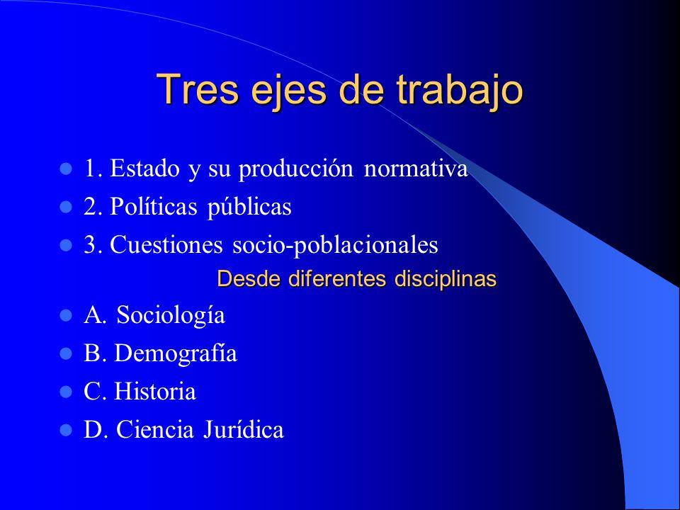 Tres ejes de trabajo 1. Estado y su producción normativa 2. Políticas públicas 3. Cuestiones socio-poblacionales Desde diferentes disciplinas A. Socio