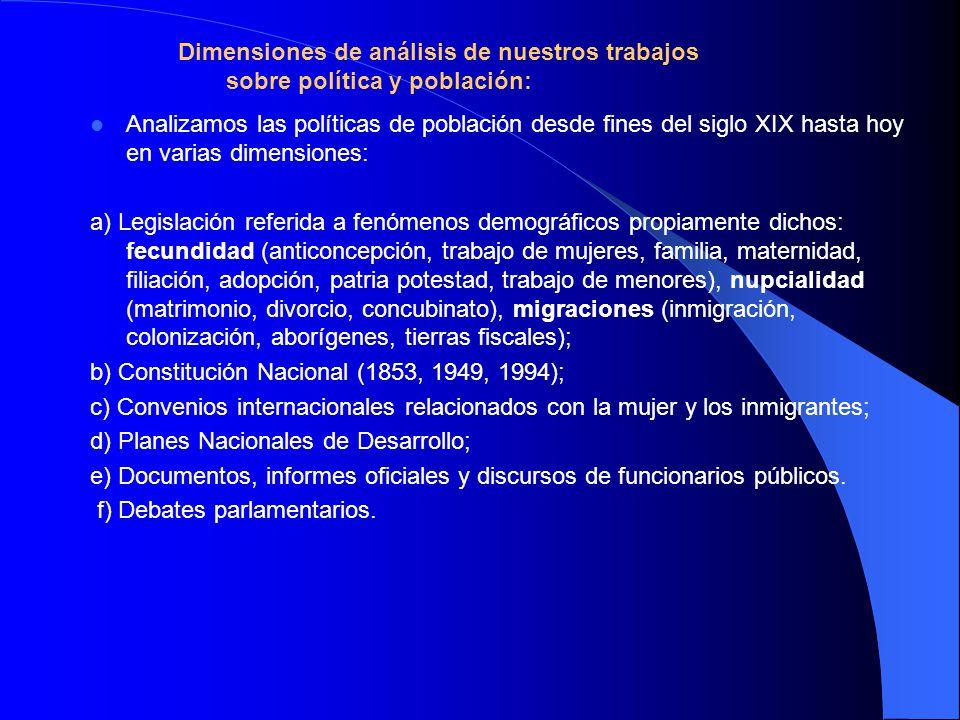 Analizamos las políticas de población desde fines del siglo XIX hasta hoy en varias dimensiones: a) Legislación referida a fenómenos demográficos prop