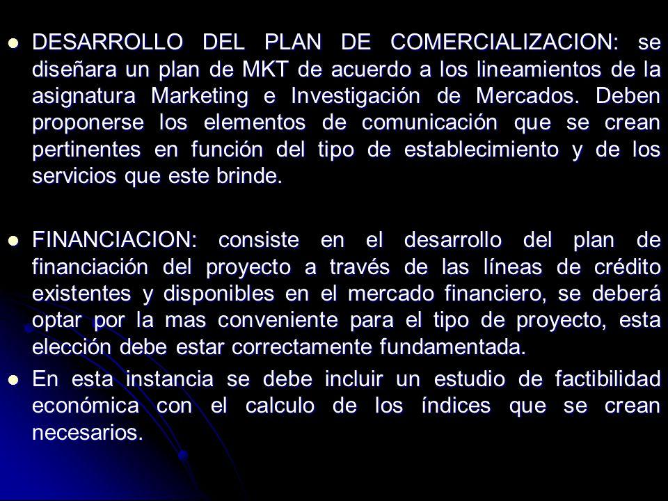 DESARROLLO DEL PLAN DE COMERCIALIZACION: se diseñara un plan de MKT de acuerdo a los lineamientos de la asignatura Marketing e Investigación de Mercados.