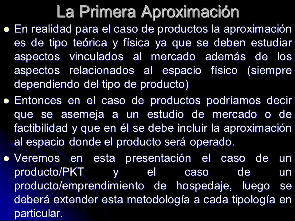 La Primera Aproximación En realidad para el caso de productos la aproximación es de tipo teórica y física ya que se deben estudiar aspectos vinculados al mercado además de los aspectos relacionados al espacio físico (siempre dependiendo del tipo de producto) En realidad para el caso de productos la aproximación es de tipo teórica y física ya que se deben estudiar aspectos vinculados al mercado además de los aspectos relacionados al espacio físico (siempre dependiendo del tipo de producto) Entonces en el caso de productos podríamos decir que se asemeja a un estudio de mercado o de factibilidad y que en él se debe incluir la aproximación al espacio donde el producto será operado.