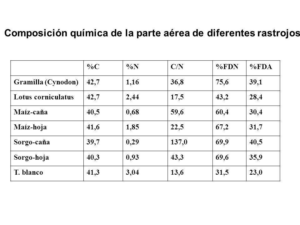 Composición química de la parte aérea de diferentes rastrojos %C%NC/N%FDN%FDA Gramilla (Cynodon)42,71,1636,875,639,1 Lotus corniculatus42,72,4417,543,