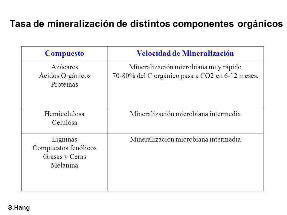 Tasa de mineralización de distintos componentes orgánicos CompuestoVelocidad de Mineralización Azúcares Ácidos Orgánicos Proteínas Mineralización micr