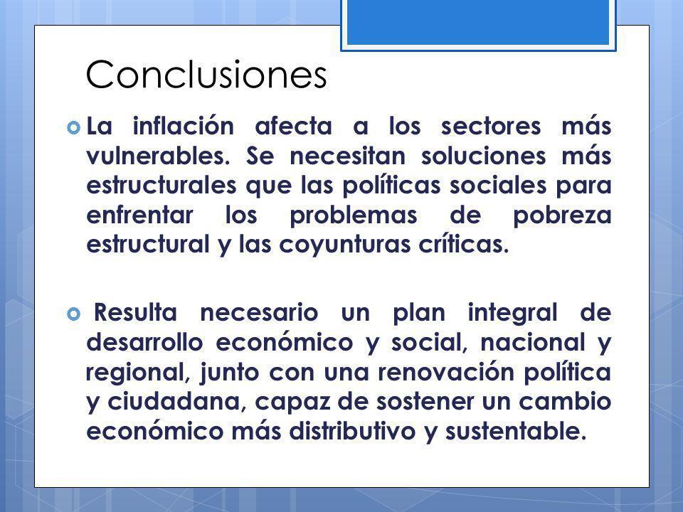 Conclusiones La inflación afecta a los sectores más vulnerables.