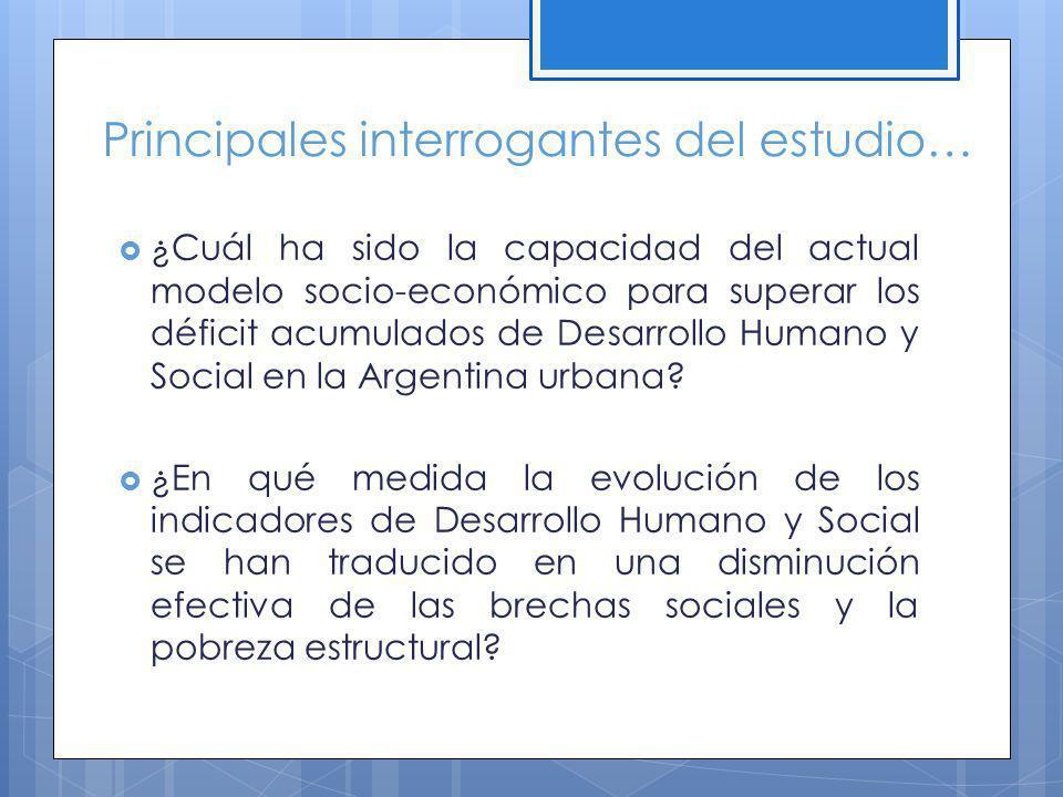 Principales interrogantes del estudio… ¿Cuál ha sido la capacidad del actual modelo socio-económico para superar los déficit acumulados de Desarrollo Humano y Social en la Argentina urbana.