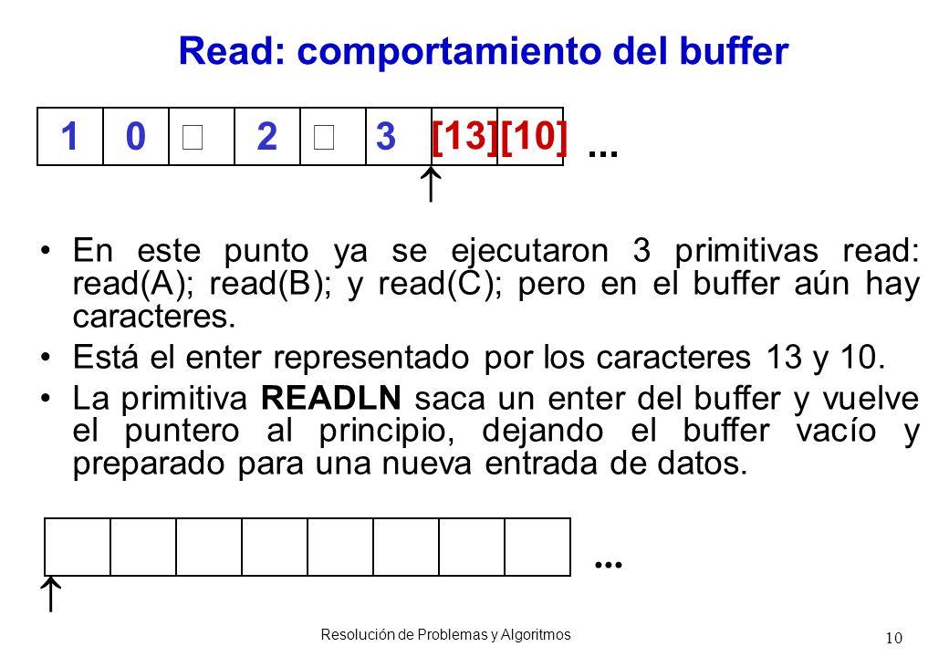 10 En este punto ya se ejecutaron 3 primitivas read: read(A); read(B); y read(C); pero en el buffer aún hay caracteres. Está el enter representado por