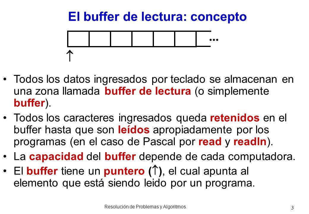 3 El buffer de lectura: concepto Todos los datos ingresados por teclado se almacenan en una zona llamada buffer de lectura (o simplemente buffer). Tod