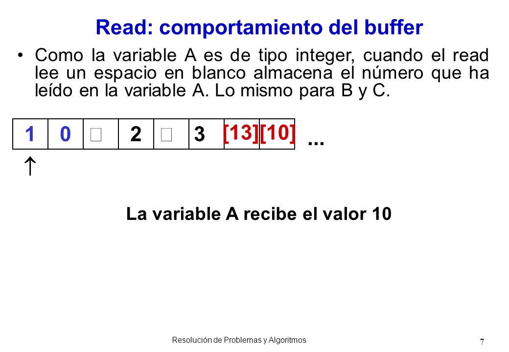 7 Como la variable A es de tipo integer, cuando el read lee un espacio en blanco almacena el número que ha leído en la variable A. Lo mismo para B y C