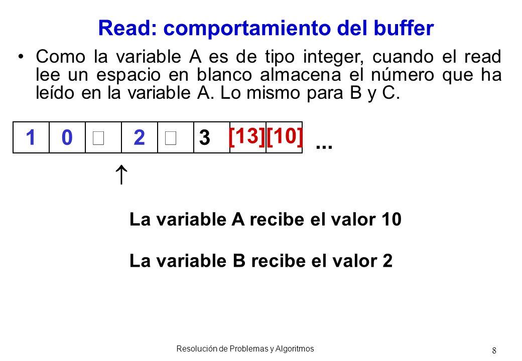 8 Como la variable A es de tipo integer, cuando el read lee un espacio en blanco almacena el número que ha leído en la variable A. Lo mismo para B y C