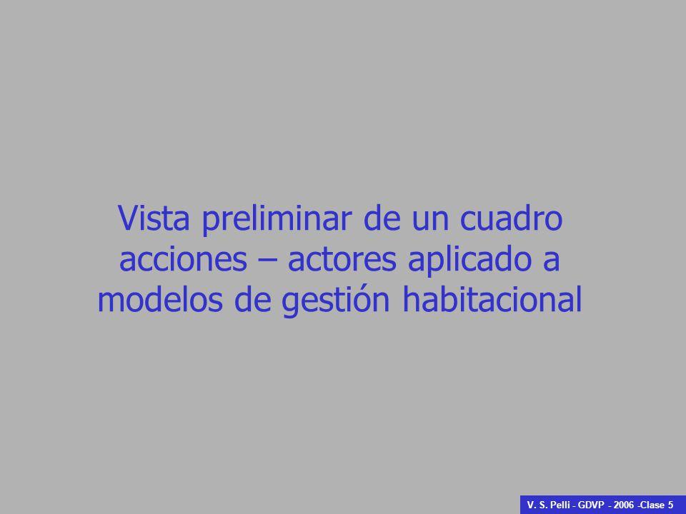 Vista preliminar de un cuadro acciones – actores aplicado a modelos de gestión habitacional V.