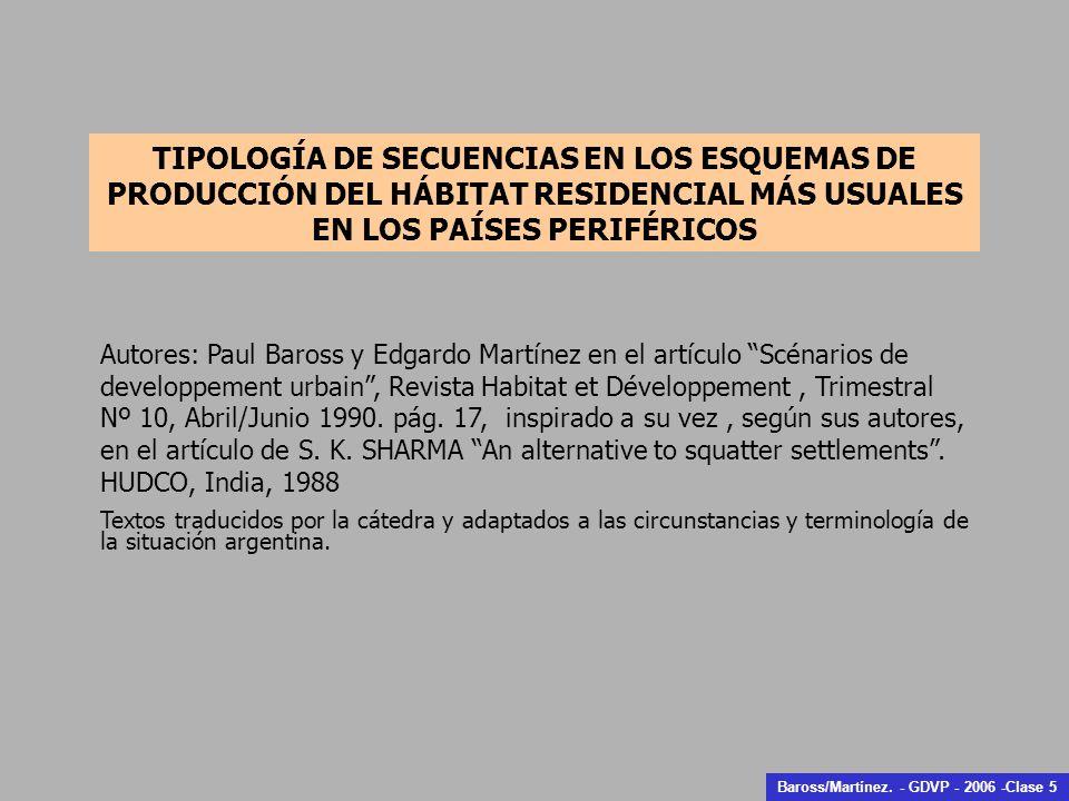 Autores: Paul Baross y Edgardo Martínez en el artículo Scénarios de developpement urbain, Revista Habitat et Développement, Trimestral Nº 10, Abril/Junio 1990.