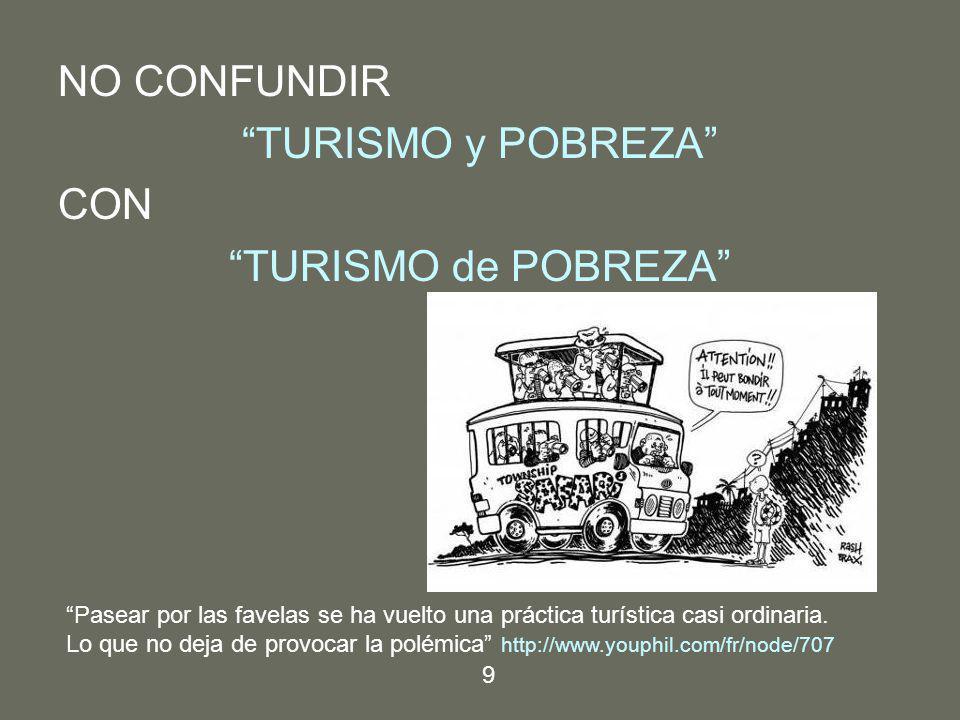 NO CONFUNDIR TURISMO y POBREZA CON TURISMO de POBREZA Pasear por las favelas se ha vuelto una práctica turística casi ordinaria. Lo que no deja de pro