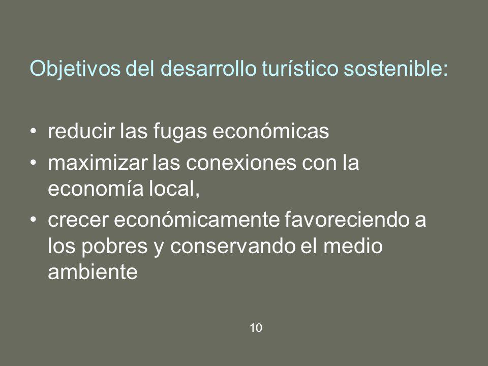 Objetivos del desarrollo turístico sostenible: reducir las fugas económicas maximizar las conexiones con la economía local, crecer económicamente favo