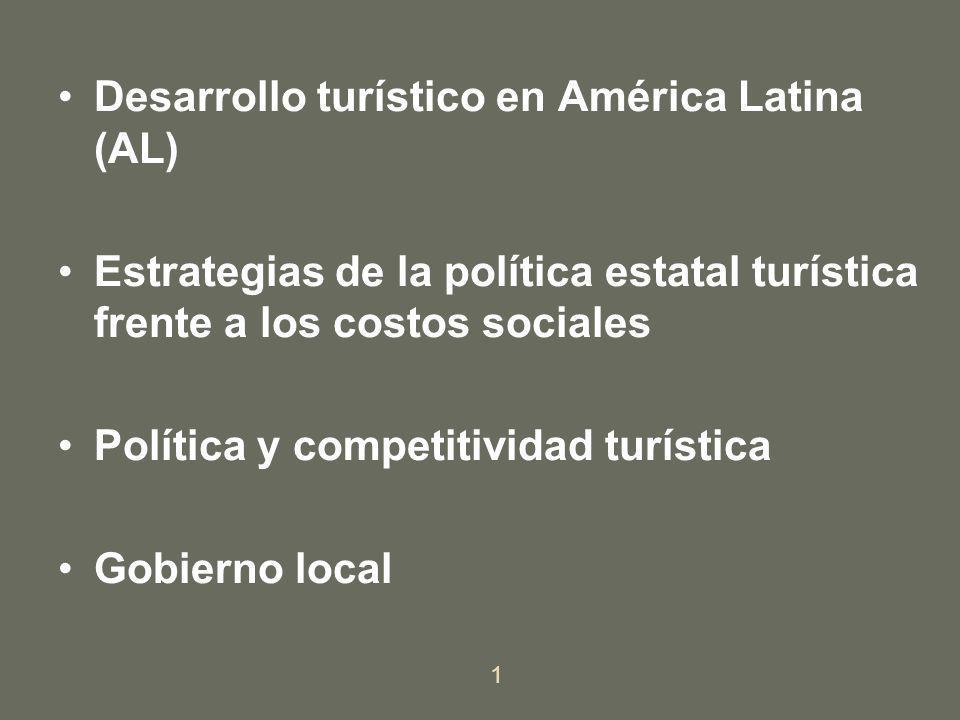Desarrollo turístico en América Latina (AL) Estrategias de la política estatal turística frente a los costos sociales Política y competitividad turíst