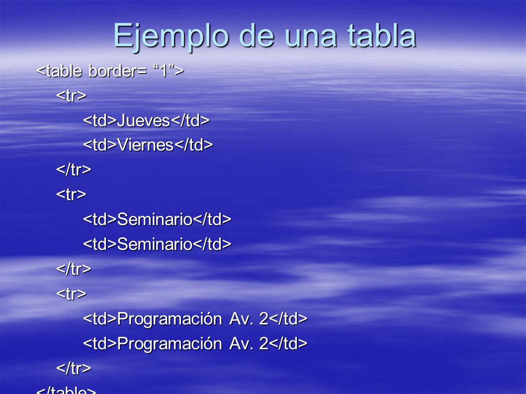 Ejemplo de una tabla <tr><td>Jueves</td><td>Viernes</td></tr><tr><td>Seminario</td><td>Seminario</td></tr><tr> Programación Av. 2 Programación Av. 2 <