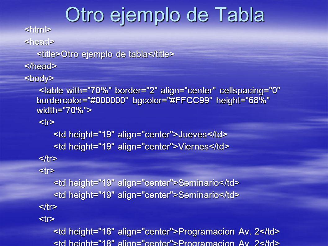 Otro ejemplo de Tabla <html><head> Otro ejemplo de tabla Otro ejemplo de tabla </head><body> <tr> Jueves Jueves Viernes Viernes </tr><tr> Seminario Se