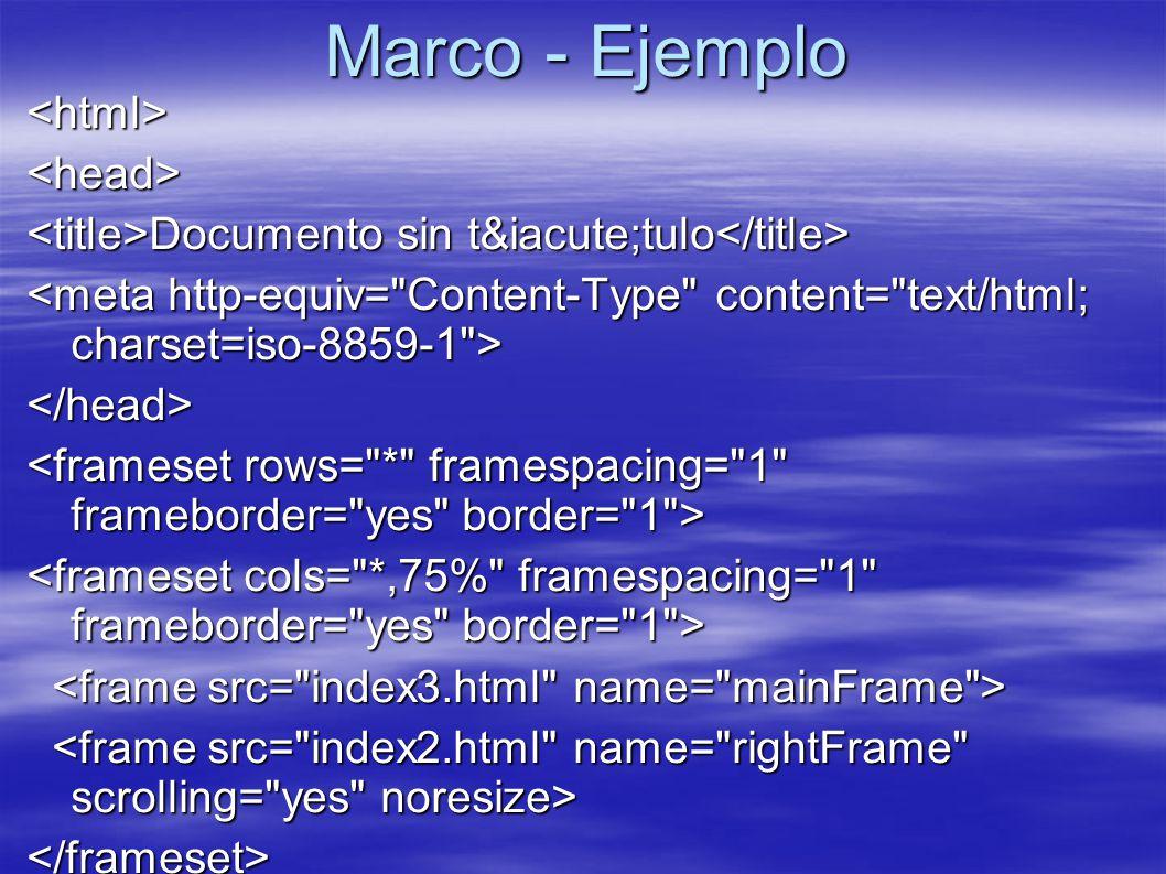 Marco - Ejemplo <html><head> Documento sin título Documento sin título </head> </frameset></frameset></html>