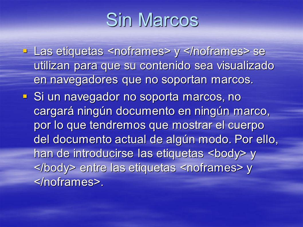 Sin Marcos Las etiquetas y se utilizan para que su contenido sea visualizado en navegadores que no soportan marcos.