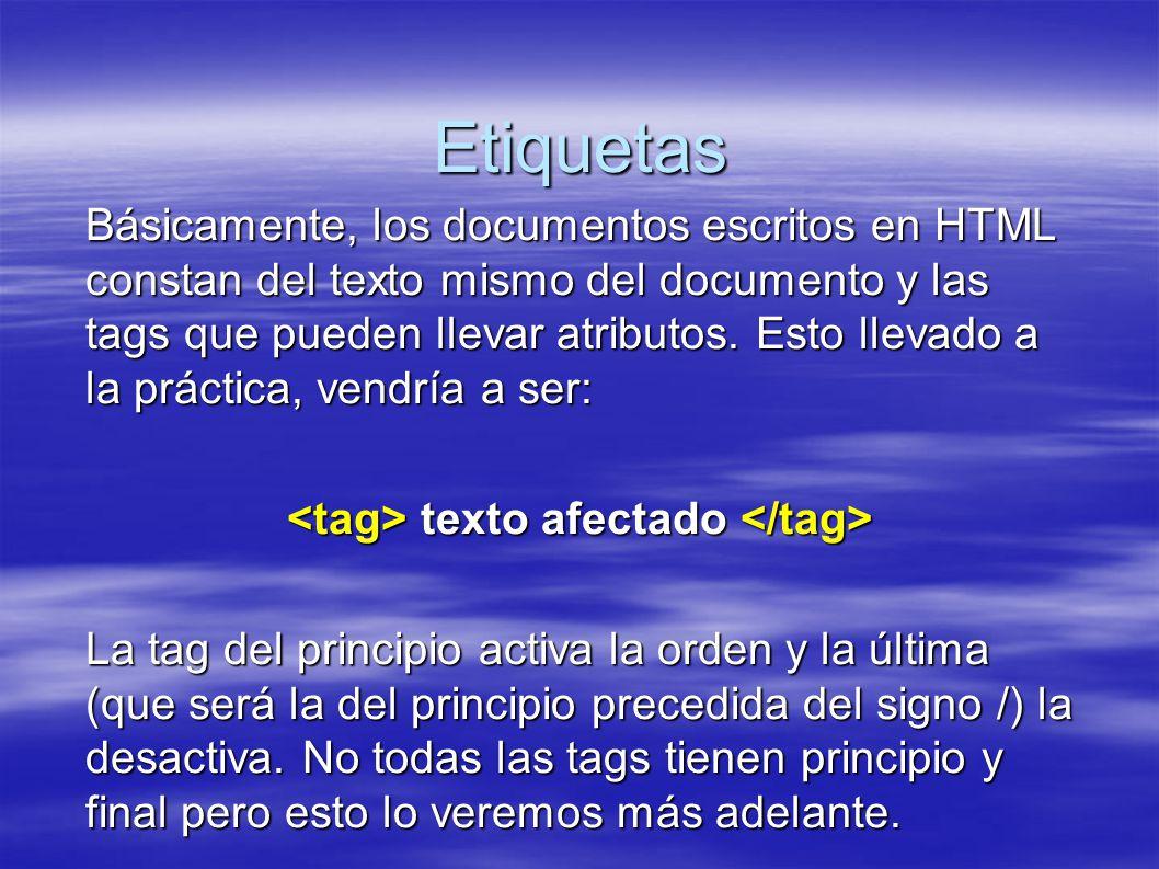 Etiquetas Básicamente, los documentos escritos en HTML constan del texto mismo del documento y las tags que pueden llevar atributos.