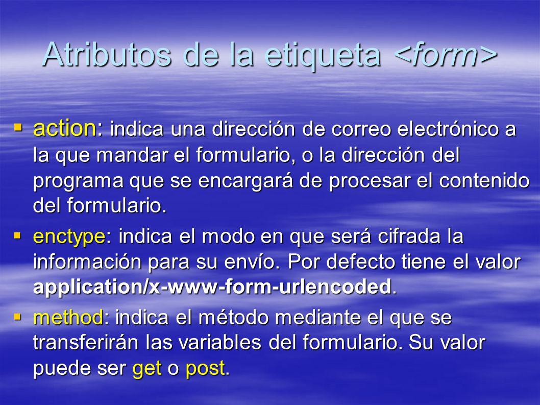 Atributos de la etiqueta Atributos de la etiqueta action: indica una dirección de correo electrónico a la que mandar el formulario, o la dirección del