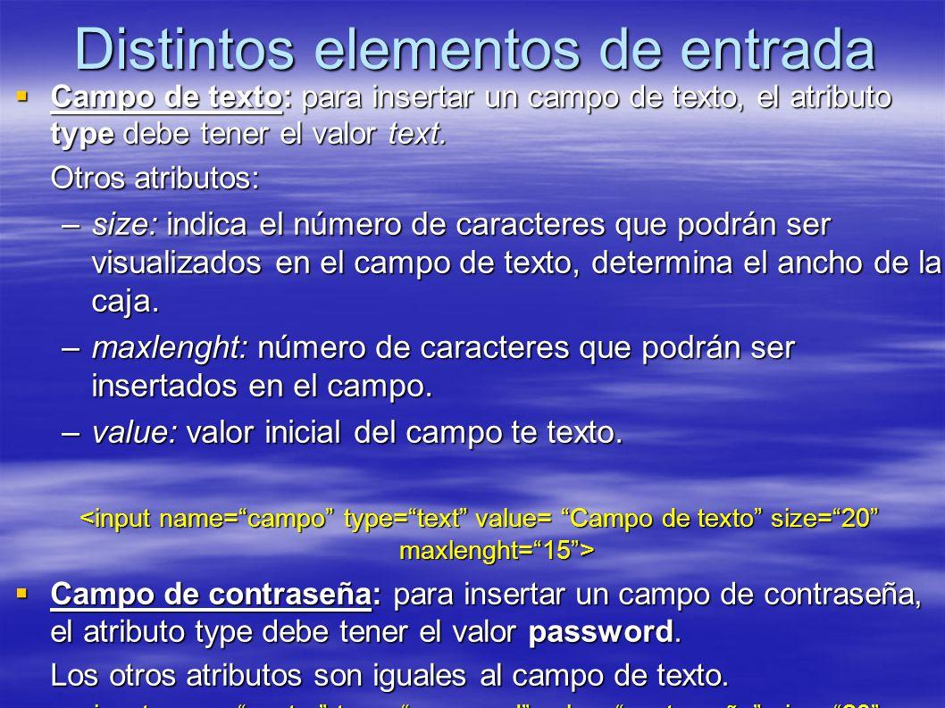Distintos elementos de entrada Campo de texto: para insertar un campo de texto, el atributo type debe tener el valor text.