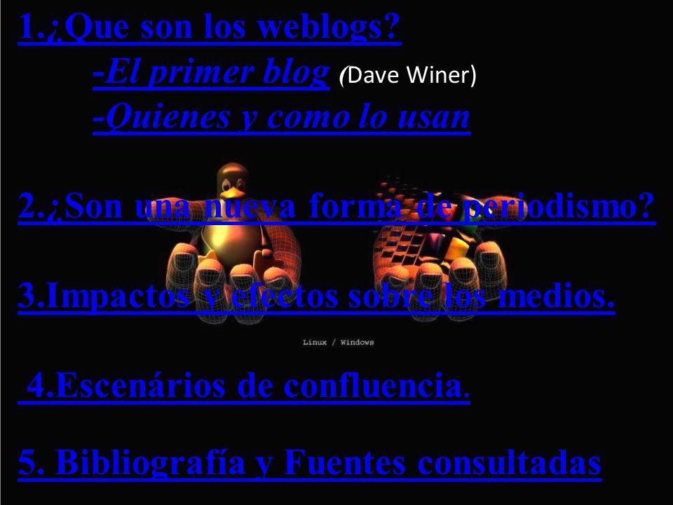 Relación entre Weblogs y periodismo.Weblog particulares sobre Actualidad.