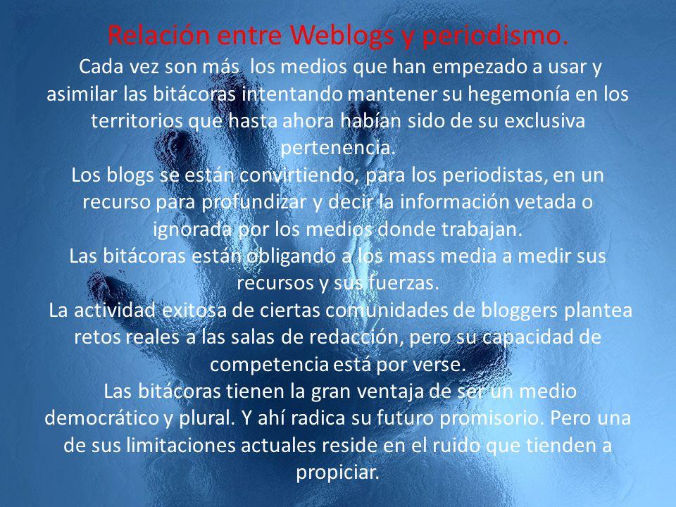 Relación entre Weblogs y periodismo. Weblog particulares sobre Actualidad. Weblogs institucionales de medios. Weblogs sobre medios y comunicación. Web