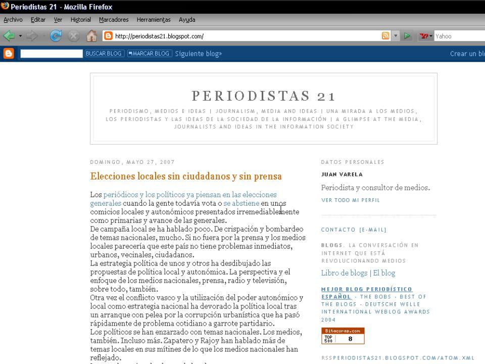 Weblogs personales de periodistas.