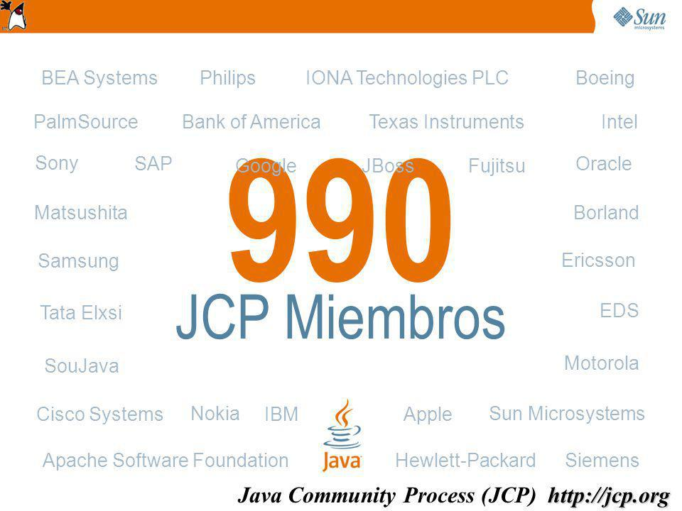 990 JCP Miembros Apache Software Foundation Fujitsu Motorola Oracle Apple Bank of America BEA SystemsBoeing Borland Cisco Systems EDS Ericsson Hewlett