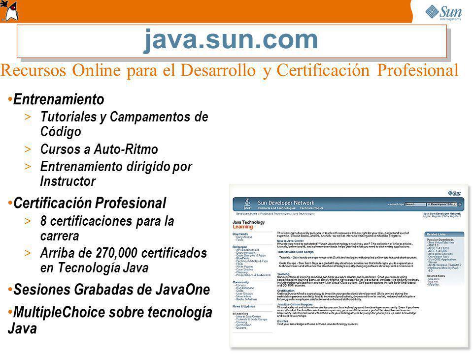 Entrenamiento > Tutoriales y Campamentos de Código > Cursos a Auto-Ritmo > Entrenamiento dirigido por Instructor Certificación Profesional > 8 certificaciones para la carrera > Arriba de 270,000 certificados en Tecnología Java Sesiones Grabadas de JavaOne MultipleChoice sobre tecnología Java Recursos Online para el Desarrollo y Certificación Profesional