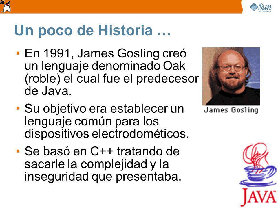 Un poco de Historia … En 1991, James Gosling creó un lenguaje denominado Oak (roble) el cual fue el predecesor de Java.