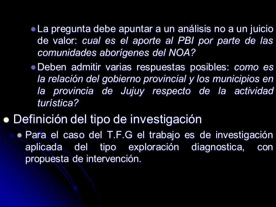 Formulación de la hipótesis Formulación de la hipótesis Para el caso de los T.F.G puede o no existir la hipótesis.
