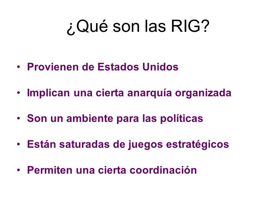 ¿Qué son las RIG? Provienen de Estados Unidos Implican una cierta anarquía organizada Son un ambiente para las políticas Están saturadas de juegos est