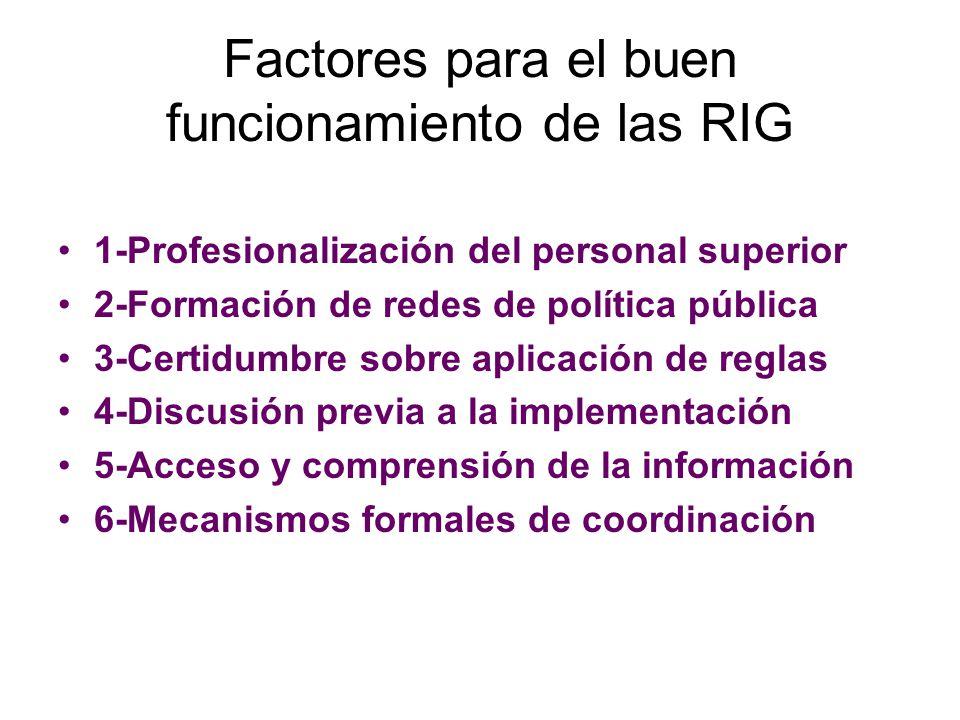 Factores para el buen funcionamiento de las RIG 1-Profesionalización del personal superior 2-Formación de redes de política pública 3-Certidumbre sobr