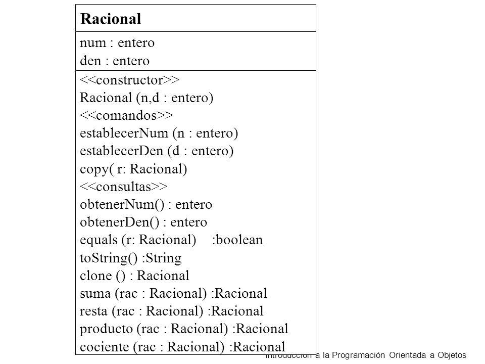 Introducción a la Programación Orientada a Objetos Racional num : entero den : entero > Racional (n,d : entero) > establecerNum (n : entero) establecerDen (d : entero) copy( r: Racional) > obtenerNum() : entero obtenerDen() : entero equals (r: Racional) :boolean toString() :String clone () : Racional suma (rac : Racional) :Racional resta (rac : Racional) :Racional producto (rac : Racional) :Racional cociente (rac : Racional) :Racional