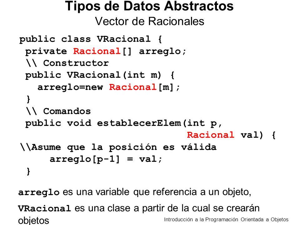 Introducción a la Programación Orientada a Objetos Tipos de Datos Abstractos Vector de Racionales public class VRacional { private Racional[] arreglo; \\ Constructor public VRacional(int m){ arreglo=new Racional[m]; } \\ Comandos public void establecerElem(int p, Racional val) { \\Asume que la posición es válida arreglo[p-1] = val; } arreglo es una variable que referencia a un objeto, VRacional es una clase a partir de la cual se crearán objetos