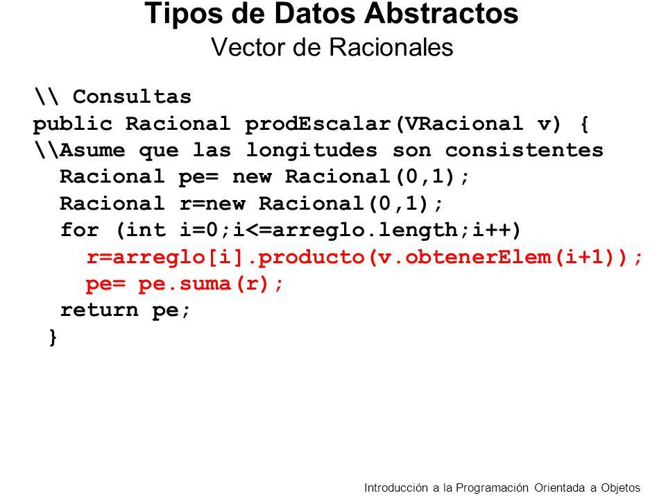 Introducción a la Programación Orientada a Objetos Tipos de Datos Abstractos Vector de Racionales \\ Consultas public Racional prodEscalar(VRacional v) { \\Asume que las longitudes son consistentes Racional pe= new Racional(0,1); Racional r=new Racional(0,1); for (int i=0;i<=arreglo.length;i++) r=arreglo[i].producto(v.obtenerElem(i+1)); pe= pe.suma(r); return pe; }