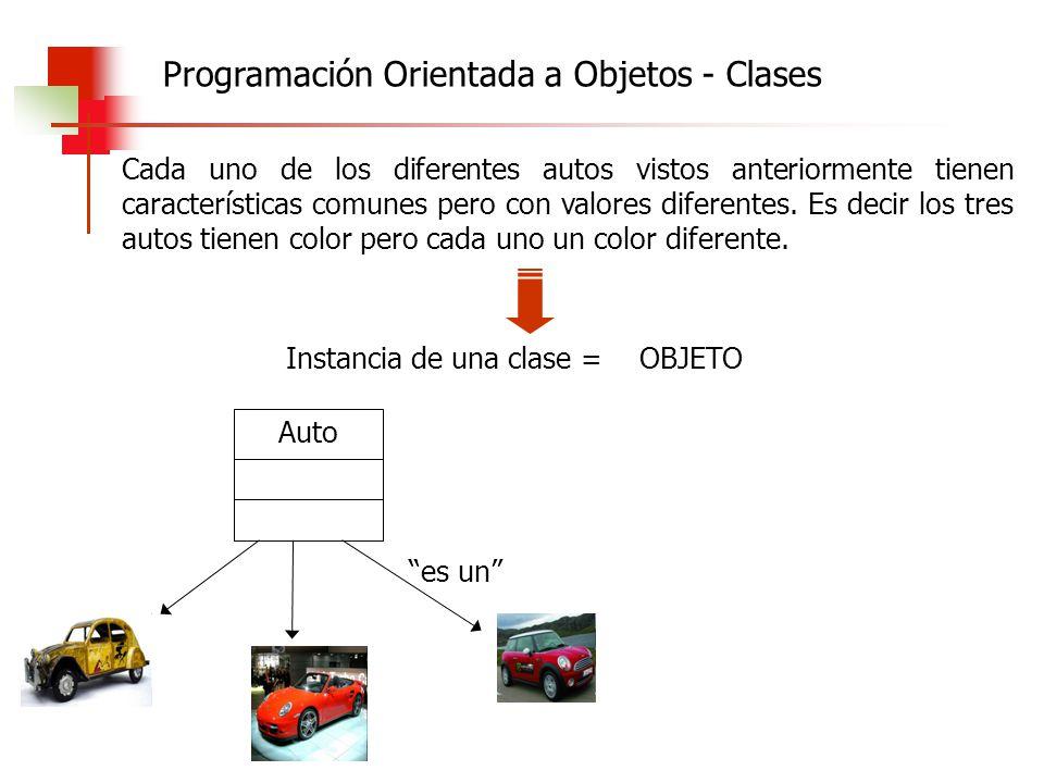 Cada uno de los diferentes autos vistos anteriormente tienen características comunes pero con valores diferentes. Es decir los tres autos tienen color