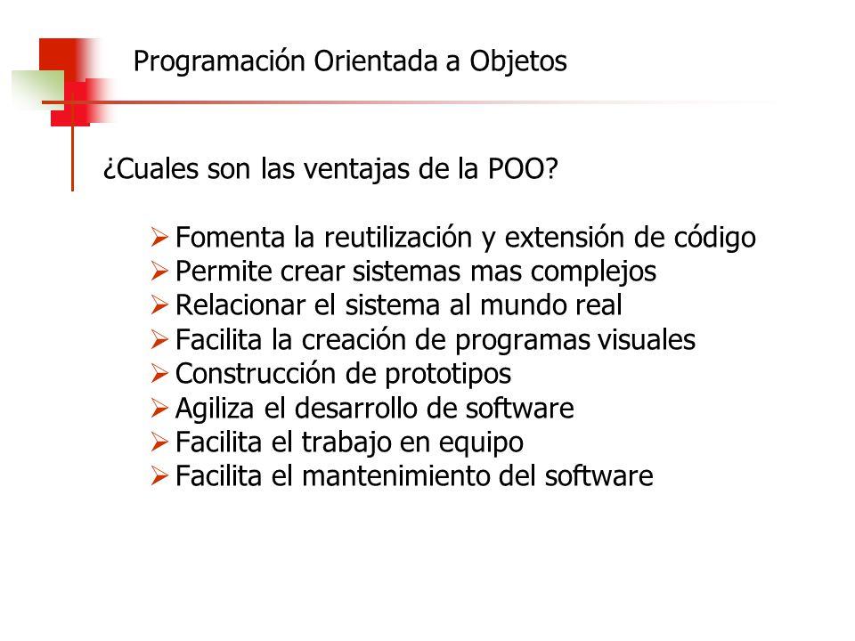 ¿Cuales son las ventajas de la POO? Fomenta la reutilización y extensión de código Permite crear sistemas mas complejos Relacionar el sistema al mundo