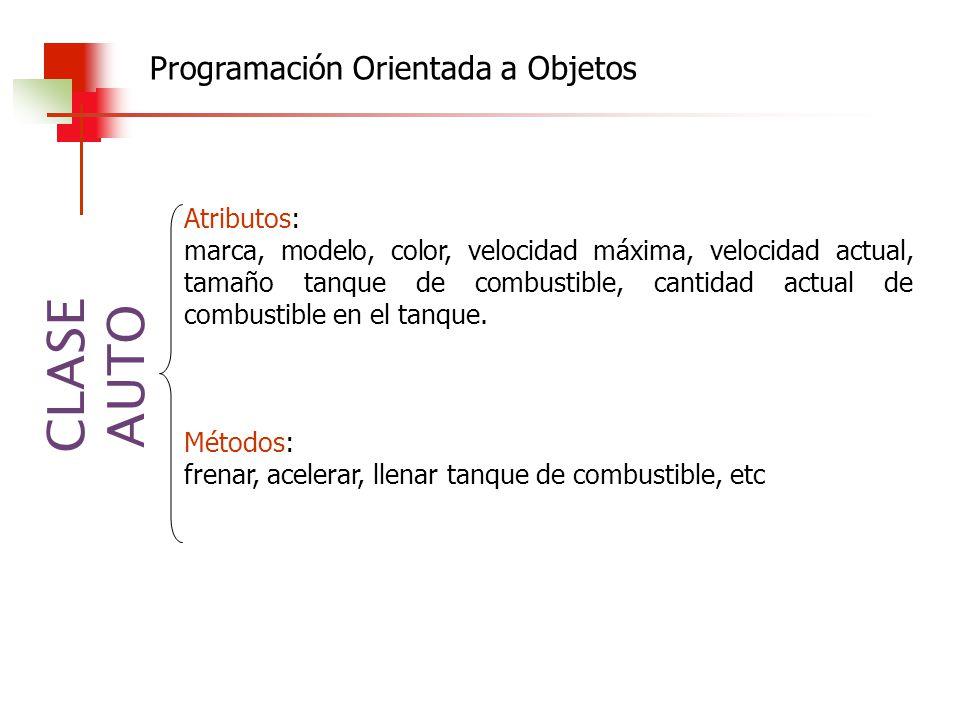 Programación Orientada a Objetos CLASE AUTO Atributos: marca, modelo, color, velocidad máxima, velocidad actual, tamaño tanque de combustible, cantida