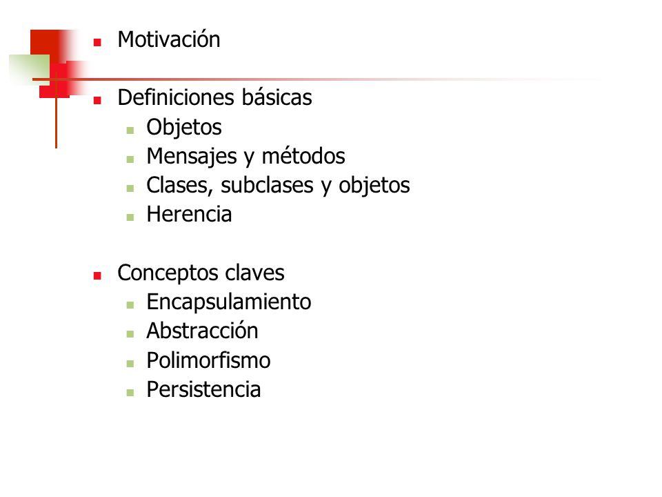 Motivación Definiciones básicas Objetos Mensajes y métodos Clases, subclases y objetos Herencia Conceptos claves Encapsulamiento Abstracción Polimorfi