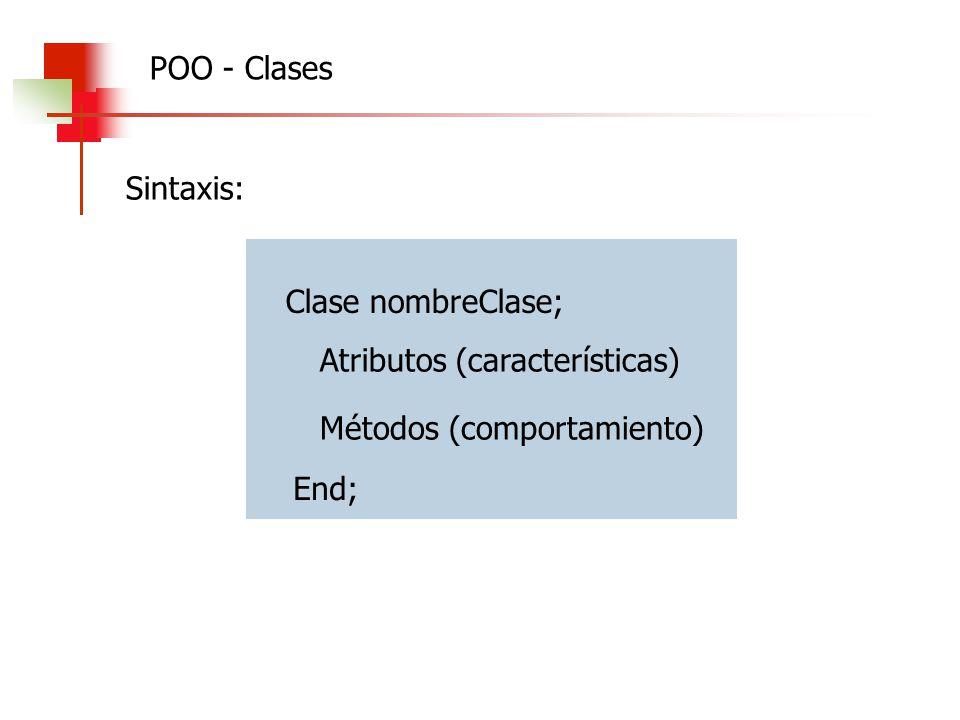 Clase nombreClase; End; Atributos (características) Métodos (comportamiento) Sintaxis: POO - Clases