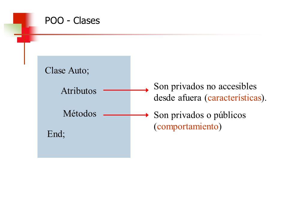 Clase Auto; Atributos Métodos End; Son privados no accesibles desde afuera (características). Son privados o públicos (comportamiento) POO - Clases