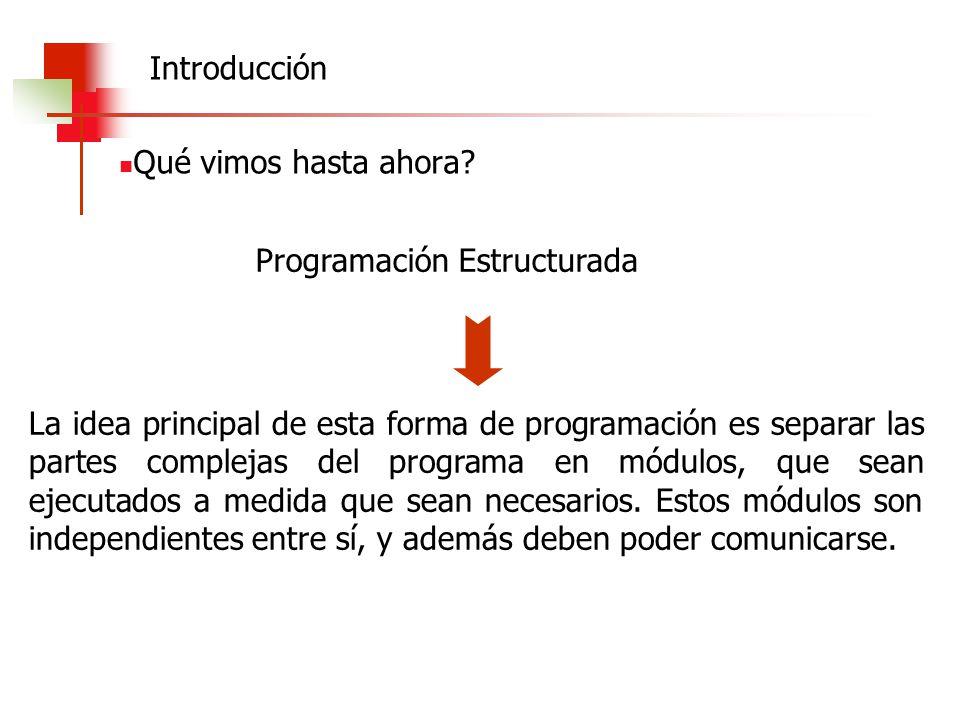 Qué vimos hasta ahora? Programación Estructurada La idea principal de esta forma de programación es separar las partes complejas del programa en módul