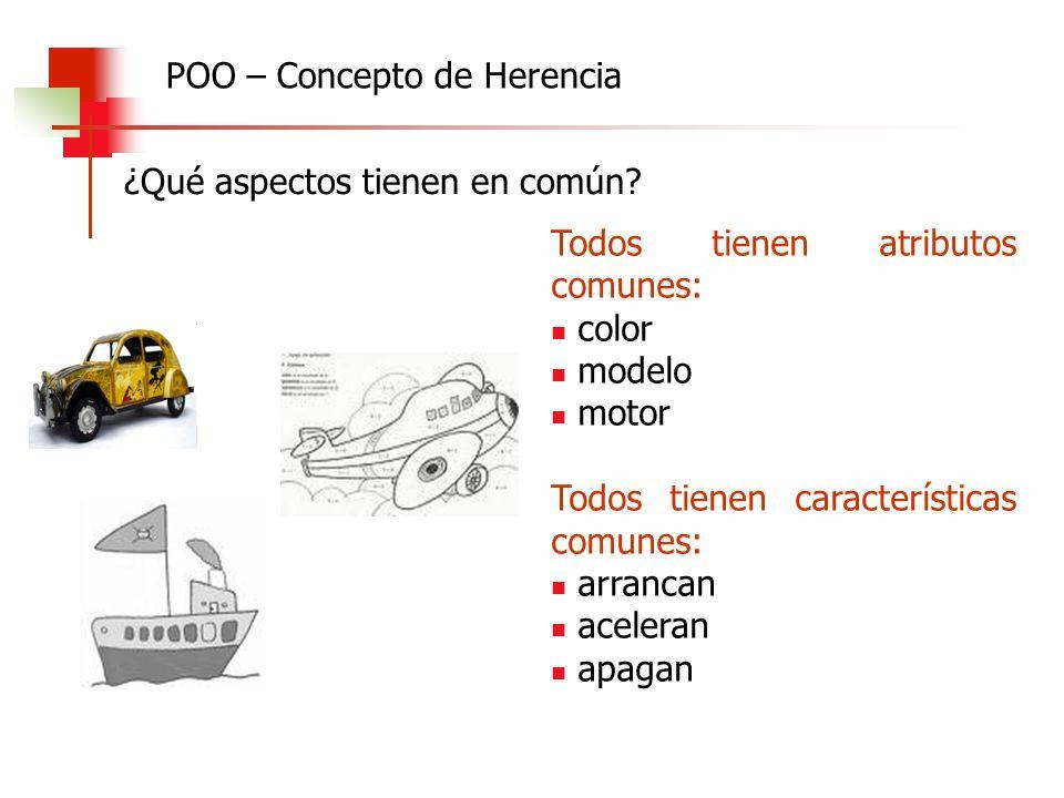 ¿Qué aspectos tienen en común? POO – Concepto de Herencia Todos tienen atributos comunes: color modelo motor Todos tienen características comunes: arr