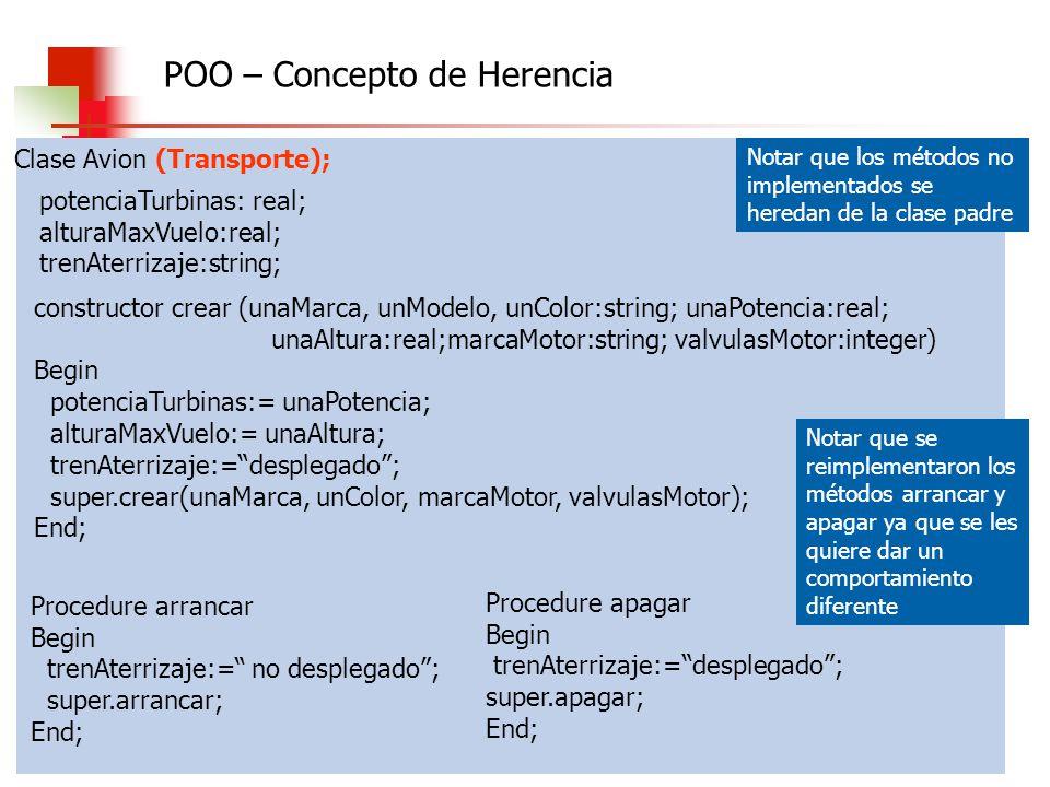 Algoritmos, Datos y Programas 2010 Clase Avion (Transporte); potenciaTurbinas: real; alturaMaxVuelo:real; trenAterrizaje:string; constructor crear (un